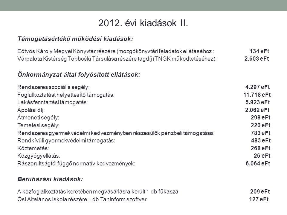 Támogatásértékű működési kiadások: Eötvös Károly Megyei Könyvtár részére (mozgókönyvtári feladatok ellátásához : 134 eFt Várpalota Kistérség Többcélú