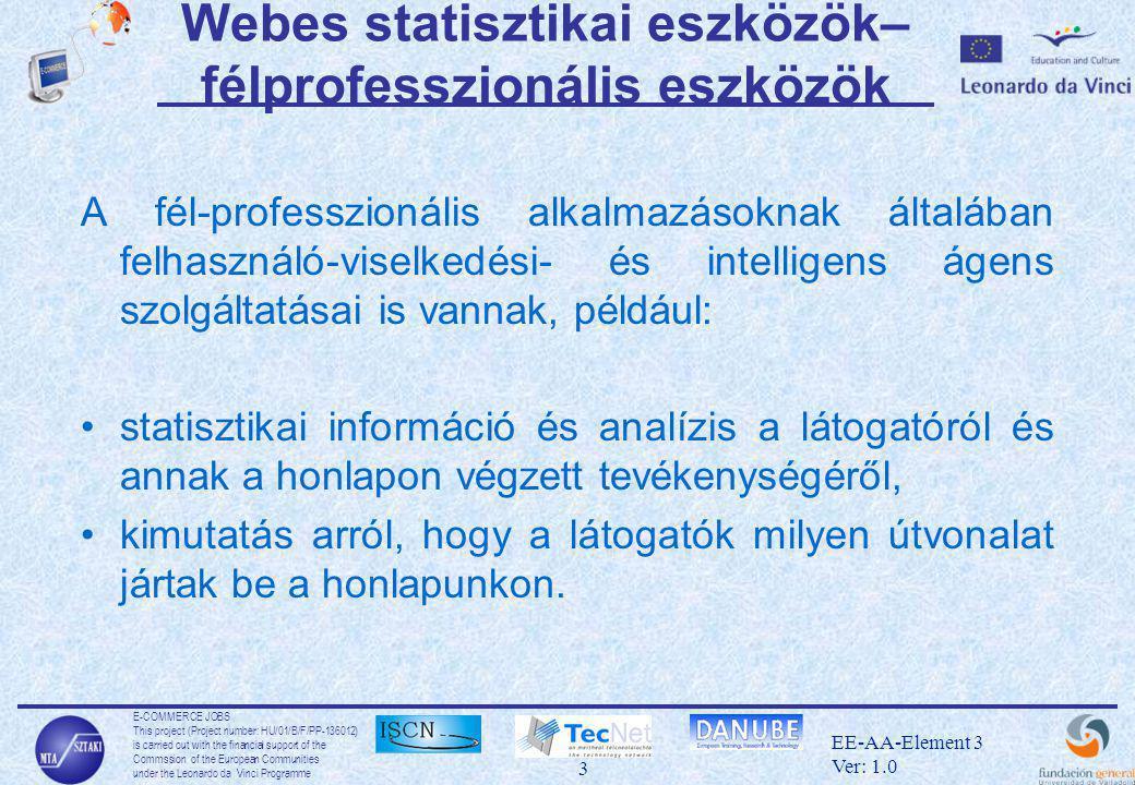 E-COMMERCE JOBS This project (Project number: HU/01/B/F/PP-136012) is carried out with the financial support of the Commssion of the European Communities under the Leonardo da Vinci Programme 3 EE-AA-Element 3 Ver: 1.0 Webes statisztikai eszközök– félprofesszionális eszközök A fél-professzionális alkalmazásoknak általában felhasználó-viselkedési- és intelligens ágens szolgáltatásai is vannak, például: •statisztikai információ és analízis a látogatóról és annak a honlapon végzett tevékenységéről, •kimutatás arról, hogy a látogatók milyen útvonalat jártak be a honlapunkon.