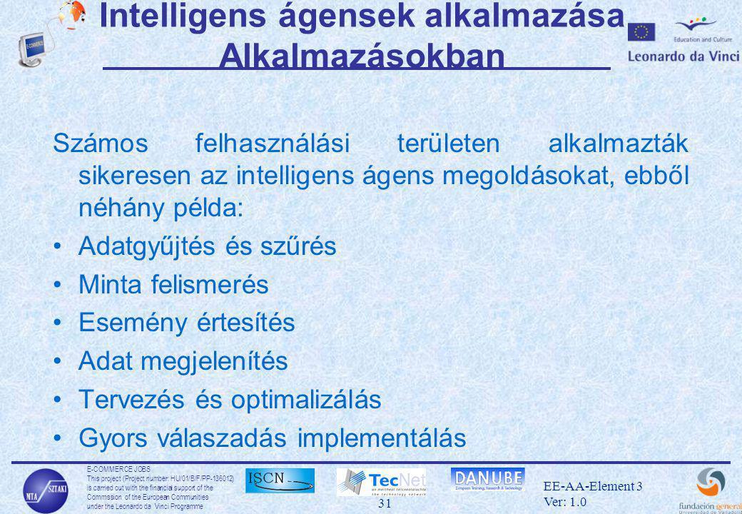 E-COMMERCE JOBS This project (Project number: HU/01/B/F/PP-136012) is carried out with the financial support of the Commssion of the European Communities under the Leonardo da Vinci Programme 31 EE-AA-Element 3 Ver: 1.0 Intelligens ágensek alkalmazása Alkalmazásokban Számos felhasználási területen alkalmazták sikeresen az intelligens ágens megoldásokat, ebből néhány példa: •Adatgyűjtés és szűrés •Minta felismerés •Esemény értesítés •Adat megjelenítés •Tervezés és optimalizálás •Gyors válaszadás implementálás