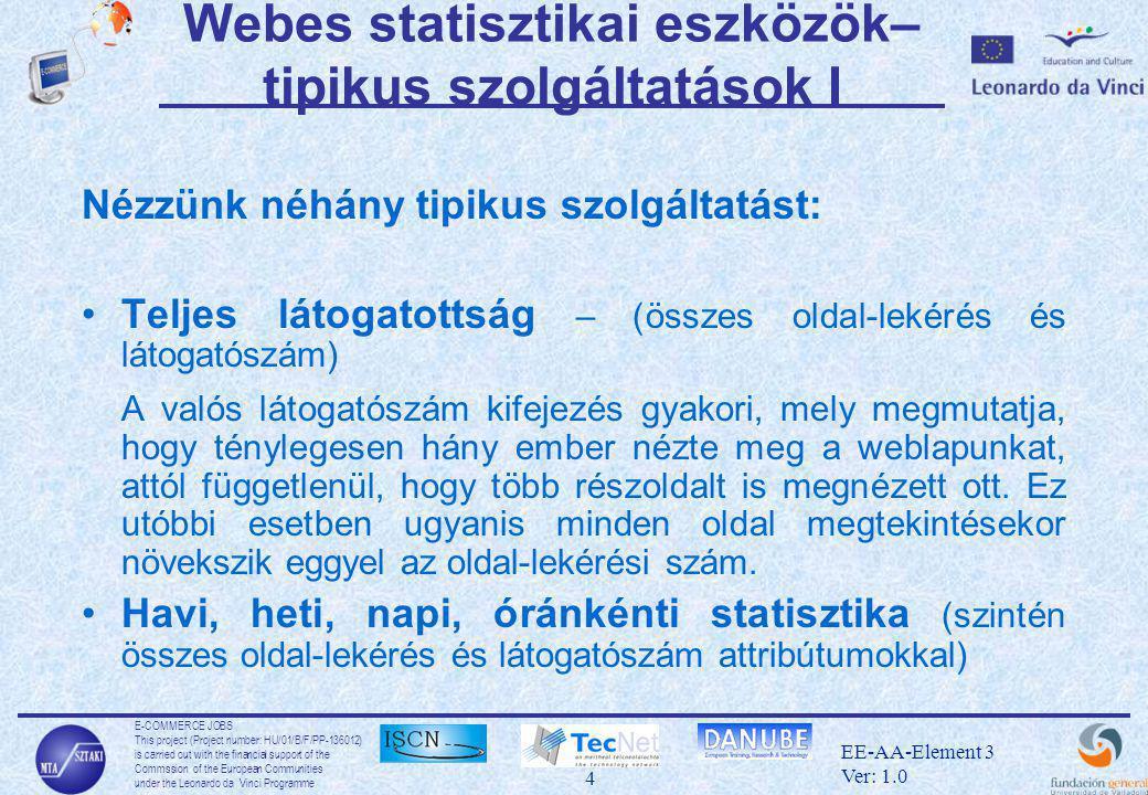 E-COMMERCE JOBS This project (Project number: HU/01/B/F/PP-136012) is carried out with the financial support of the Commssion of the European Communities under the Leonardo da Vinci Programme 4 EE-AA-Element 3 Ver: 1.0 Webes statisztikai eszközök– tipikus szolgáltatások I Nézzünk néhány tipikus szolgáltatást: •Teljes látogatottság – (összes oldal-lekérés és látogatószám) A valós látogatószám kifejezés gyakori, mely megmutatja, hogy ténylegesen hány ember nézte meg a weblapunkat, attól függetlenül, hogy több részoldalt is megnézett ott.