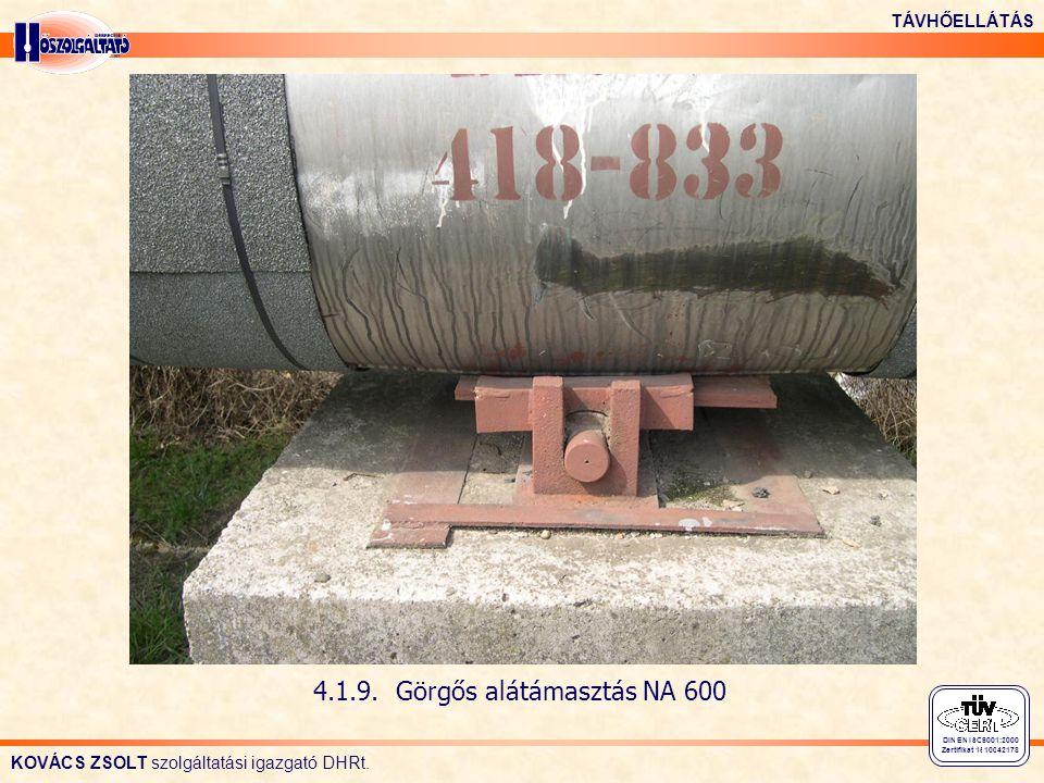 KOVÁCS ZSOLT szolgáltatási igazgató DHRt. TÁVHŐELLÁTÁS DIN EN ISO 9001:2000 Zertifikat 15 100 42178 4.1.9. Görgős alátámasztás NA 600