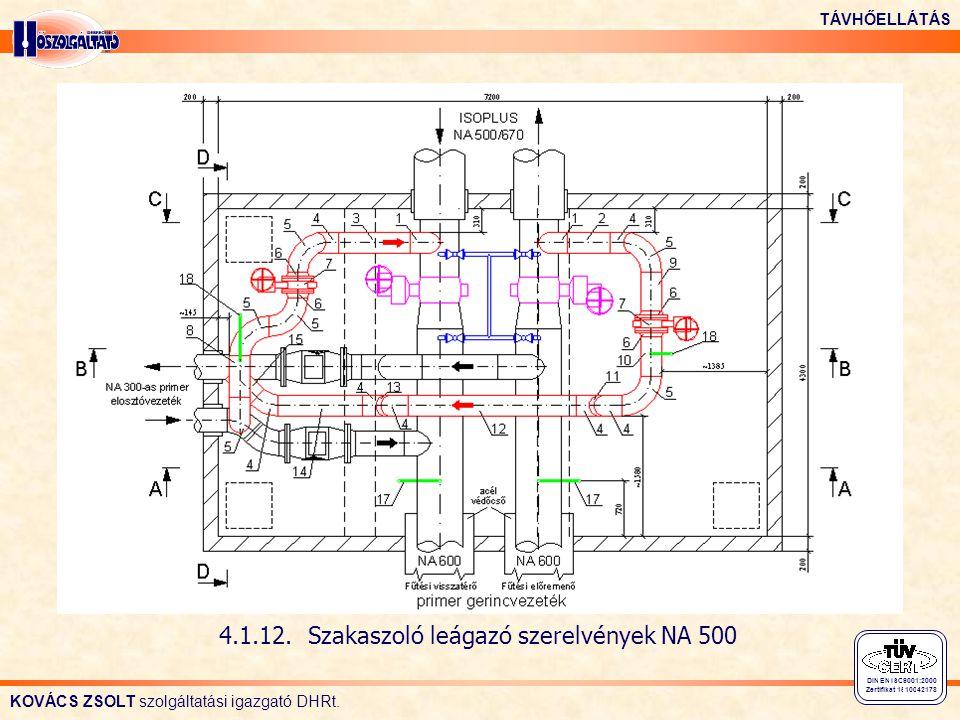 KOVÁCS ZSOLT szolgáltatási igazgató DHRt. TÁVHŐELLÁTÁS DIN EN ISO 9001:2000 Zertifikat 15 100 42178 4.1.12. Szakaszoló leágazó szerelvények NA 500