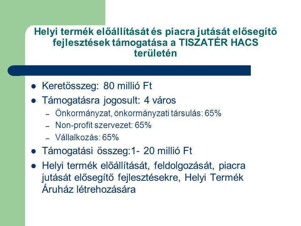 Helyi termék előállítását és piacra jutását elősegítő fejlesztések támogatása a TISZATÉR HACS területén  Keretösszeg: 80 millió Ft  Támogatásra jogosult: 4 város – Önkormányzat, önkormányzati társulás: 65% – Non-profit szervezet: 65% – Vállalkozás: 65%  Támogatási összeg:1- 20 millió Ft  Helyi termék előállítását, feldolgozását, piacra jutását elősegítő fejlesztésekre, Helyi Termék Áruház létrehozására