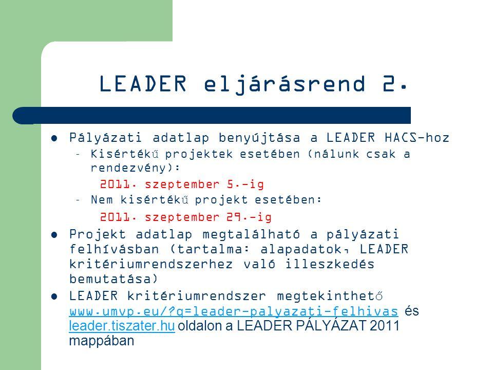 LEADER eljárásrend 2.