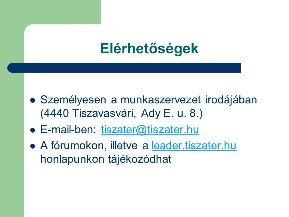 Elérhetőségek  Személyesen a munkaszervezet irodájában (4440 Tiszavasvári, Ady E.