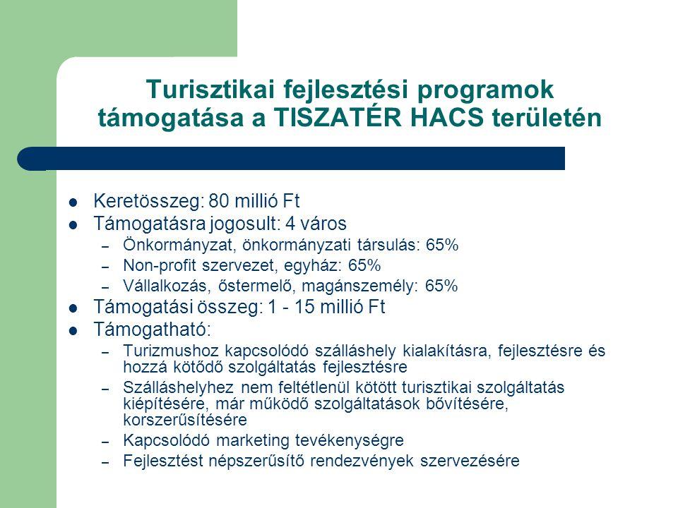 Turisztikai fejlesztési programok támogatása a TISZATÉR HACS területén  Keretösszeg: 80 millió Ft  Támogatásra jogosult: 4 város – Önkormányzat, önkormányzati társulás: 65% – Non-profit szervezet, egyház: 65% – Vállalkozás, őstermelő, magánszemély: 65%  Támogatási összeg: 1 - 15 millió Ft  Támogatható: – Turizmushoz kapcsolódó szálláshely kialakításra, fejlesztésre és hozzá kötődő szolgáltatás fejlesztésre – Szálláshelyhez nem feltétlenül kötött turisztikai szolgáltatás kiépítésére, már működő szolgáltatások bővítésére, korszerűsítésére – Kapcsolódó marketing tevékenységre – Fejlesztést népszerűsítő rendezvények szervezésére