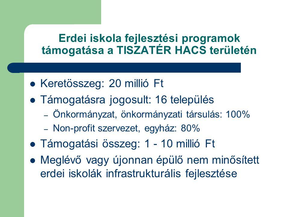 Erdei iskola fejlesztési programok támogatása a TISZATÉR HACS területén  Keretösszeg: 20 millió Ft  Támogatásra jogosult: 16 település – Önkormányzat, önkormányzati társulás: 100% – Non-profit szervezet, egyház: 80%  Támogatási összeg: 1 - 10 millió Ft  Meglévő vagy újonnan épülő nem minősített erdei iskolák infrastrukturális fejlesztése