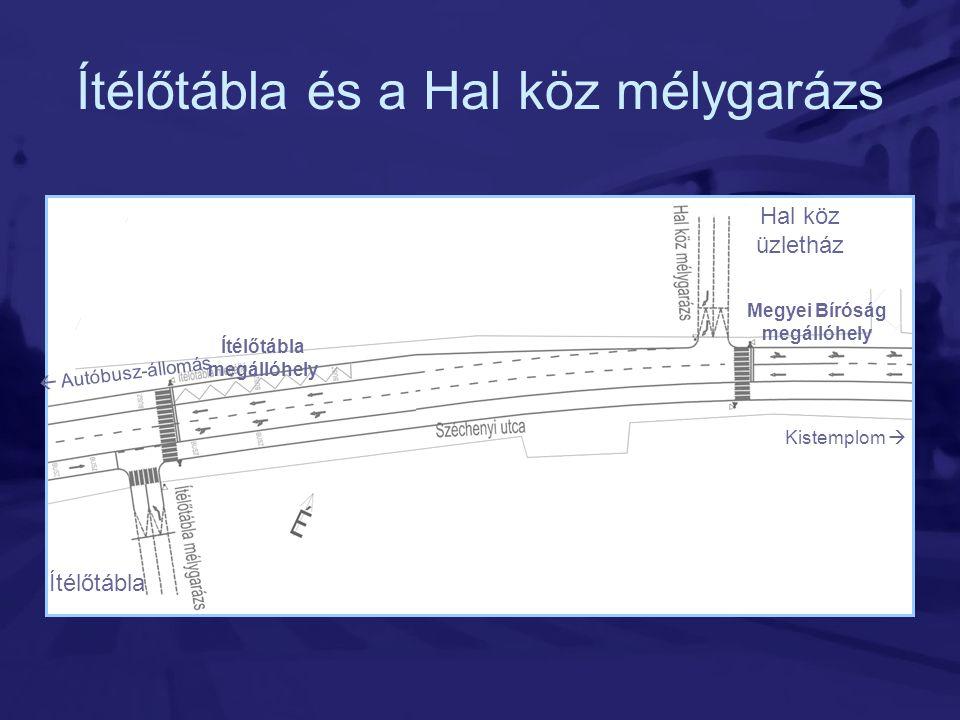 Ítélőtábla és a Hal köz mélygarázs Kistemplom  Hal köz üzletház Ítélőtábla  Autóbusz-állomás Megyei Bíróság megállóhely Ítélőtábla megállóhely