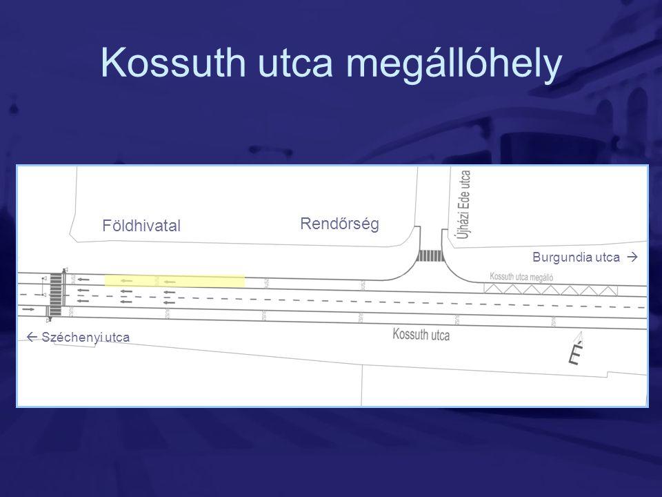 Kossuth utca megállóhely Burgundia utca   Széchenyi utca Földhivatal Rendőrség