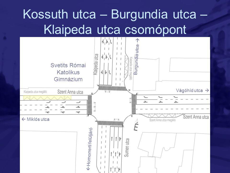 Kossuth utca – Burgundia utca – Klaipeda utca csomópont Svetits Római Katolikus Gimnázium Vágóhíd utca   Miklós utca Burgundia utca   Homorrerti f