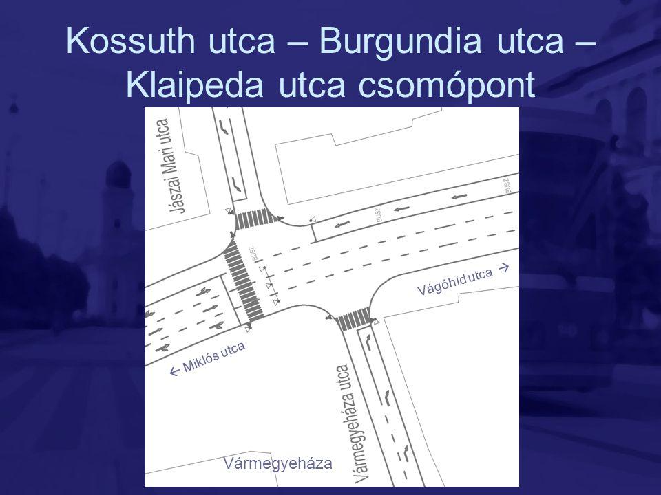 Kossuth utca – Burgundia utca – Klaipeda utca csomópont Vármegyeháza Vágóhíd utca   Miklós utca