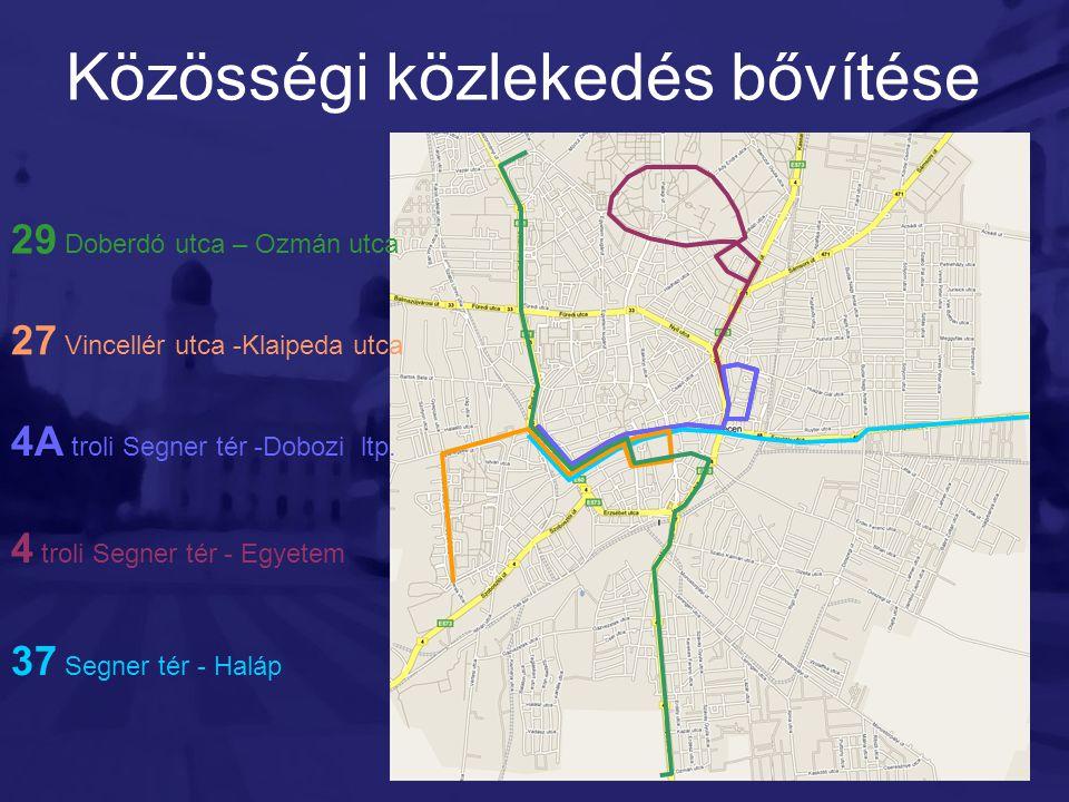 Közösségi közlekedés bővítése 29 Doberdó utca – Ozmán utca 27 Vincellér utca -Klaipeda utca 4A troli Segner tér -Dobozi ltp. 4 troli Segner tér - Egye