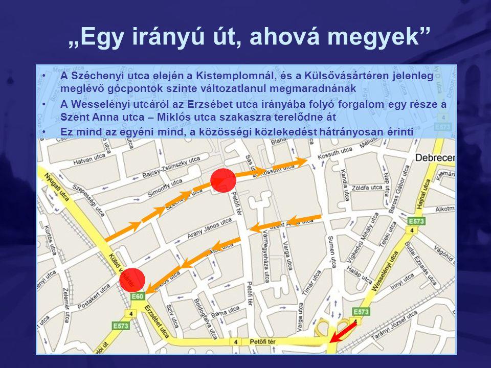 •A Széchenyi utca elején a Kistemplomnál, és a Külsővásártéren jelenleg meglévő gócpontok szinte változatlanul megmaradnának •A Wesselényi utcáról az