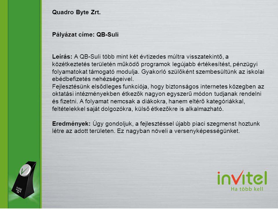 Quadro Byte Zrt. Pályázat címe: QB-Suli Leírás: A QB-Suli több mint két évtizedes múltra visszatekintő, a közétkeztetés területén működő programok leg
