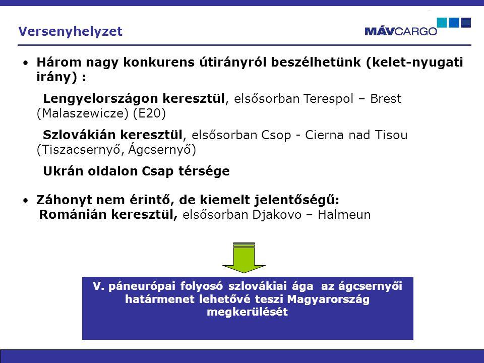 •Három nagy konkurens útirányról beszélhetünk (kelet-nyugati irány) : Lengyelországon keresztül, elsősorban Terespol – Brest (Malaszewicze) (E20) Szlo