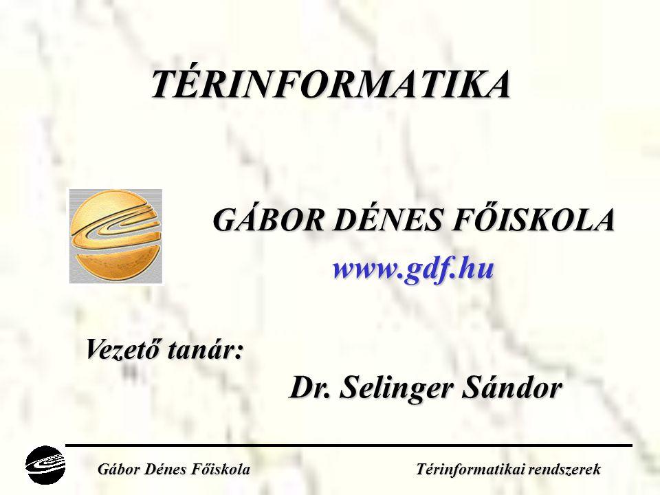 GÁBOR DÉNES FŐISKOLA www.gdf.hu Vezető tanár: Dr.Selinger Sándor Dr.