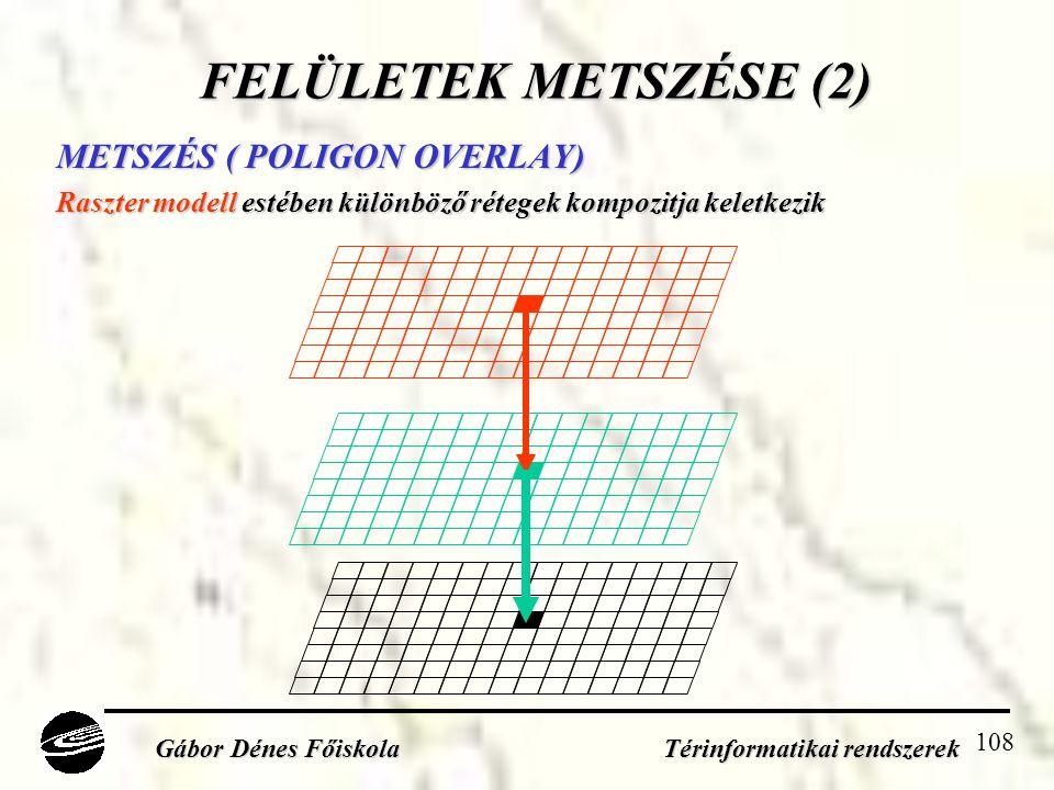 108 FELÜLETEK METSZÉSE (2) METSZÉS ( POLIGON OVERLAY) Raszter modell estében különböző rétegek kompozitja keletkezik Gábor Dénes Főiskola Térinformatikai rendszerek