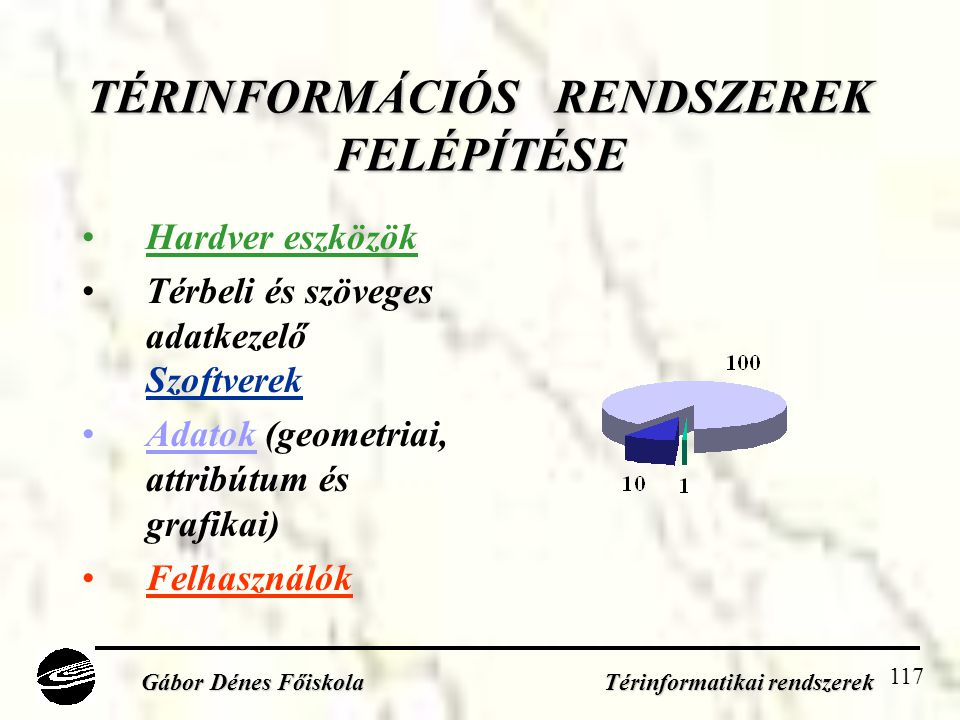 117 TÉRINFORMÁCIÓS RENDSZEREK FELÉPÍTÉSE •Hardver eszközök •Térbeli és szöveges adatkezelő Szoftverek •Adatok (geometriai, attribútum és grafikai) •Felhasználók Gábor Dénes Főiskola Térinformatikai rendszerek