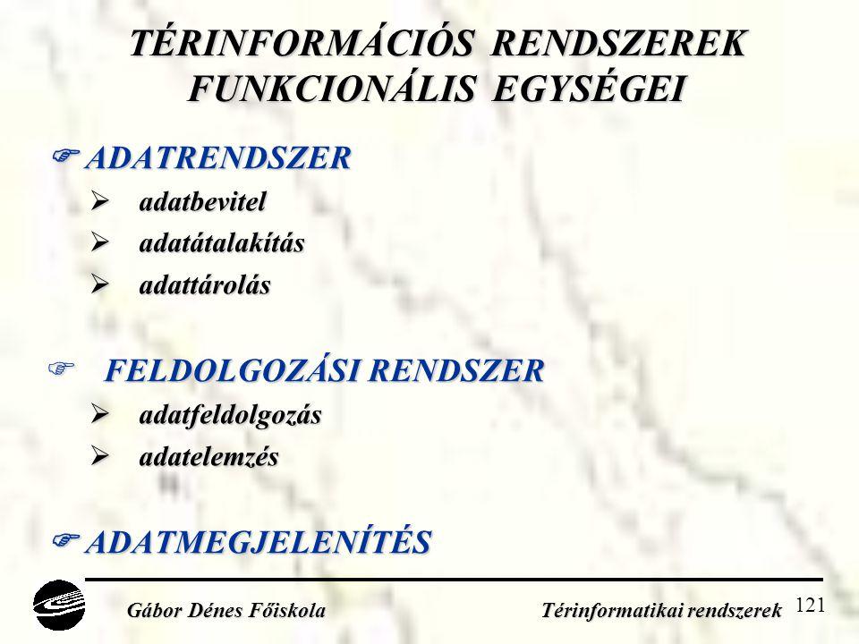 121 TÉRINFORMÁCIÓS RENDSZEREK FUNKCIONÁLIS EGYSÉGEI  ADATRENDSZER  adatbevitel  adatátalakítás  adattárolás  FELDOLGOZÁSI RENDSZER  adatfeldolgozás  adatelemzés  ADATMEGJELENÍTÉS Gábor Dénes Főiskola Térinformatikai rendszerek