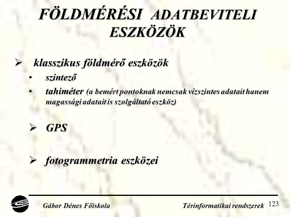 123 FÖLDMÉRÉSI ADATBEVITELI ESZKÖZÖK  klasszikus földmérő eszközök •szintező •tahiméter (a bemért pontoknak nemcsak vízszintes adatait hanem magassági adatait is szolgáltató eszköz)  GPS  fotogrammetria eszközei Gábor Dénes Főiskola Térinformatikai rendszerek