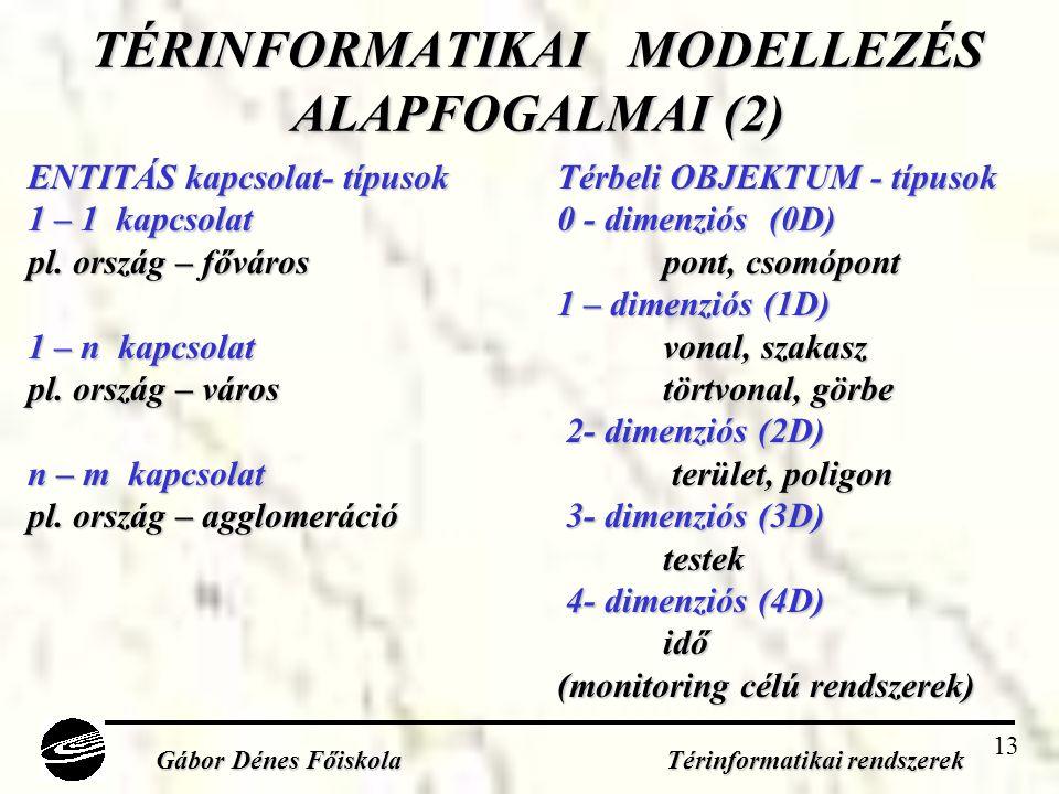 13 TÉRINFORMATIKAI MODELLEZÉS ALAPFOGALMAI (2) ENTITÁS kapcsolat- típusokTérbeli OBJEKTUM - típusok 1 – 1 kapcsolat0 - dimenziós(0D) pl.