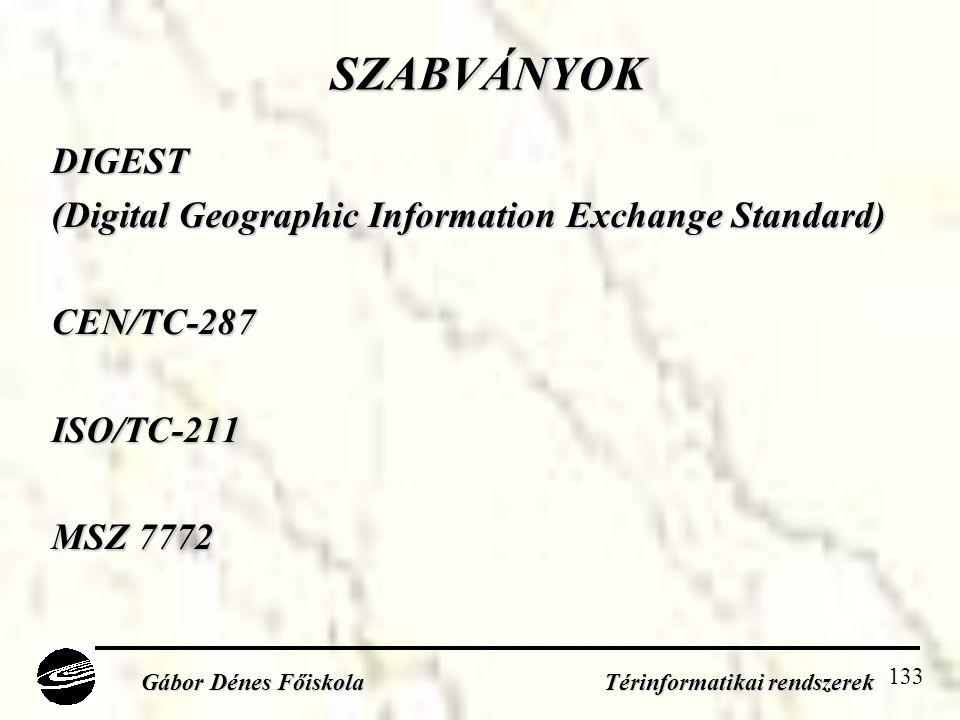 133 SZABVÁNYOK DIGEST (Digital Geographic Information Exchange Standard) CEN/TC-287ISO/TC-211 MSZ 7772 Gábor Dénes Főiskola Térinformatikai rendszerek