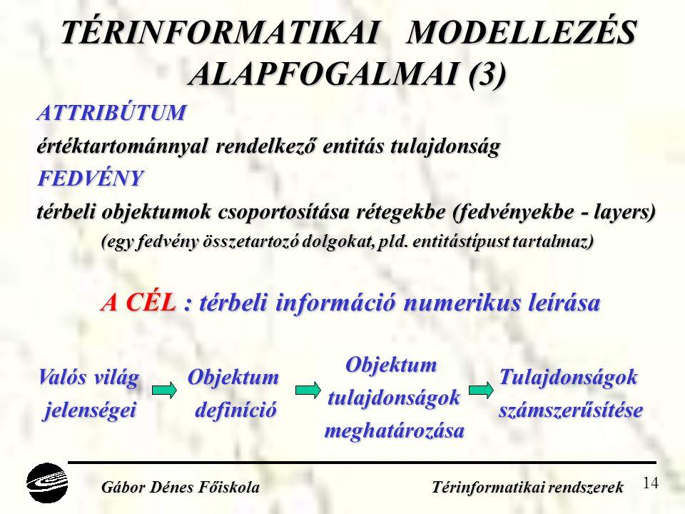 14 TÉRINFORMATIKAI MODELLEZÉS ALAPFOGALMAI (3) ATTRIBÚTUM értéktartománnyal rendelkező entitás tulajdonság FEDVÉNY térbeli objektumok csoportosítása rétegekbe (fedvényekbe - layers) (egy fedvény összetartozó dolgokat, pld.