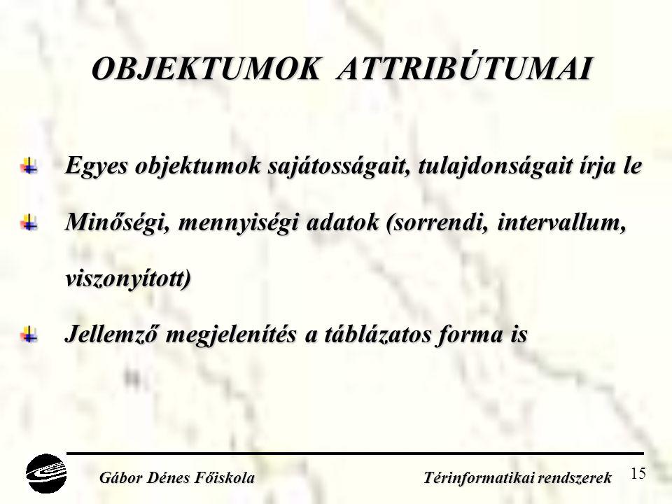 15 OBJEKTUMOK ATTRIBÚTUMAI Egyes objektumok sajátosságait, tulajdonságait írja le Minőségi, mennyiségi adatok (sorrendi, intervallum, viszonyított) Jellemző megjelenítés a táblázatos forma is Gábor Dénes Főiskola Térinformatikai rendszerek