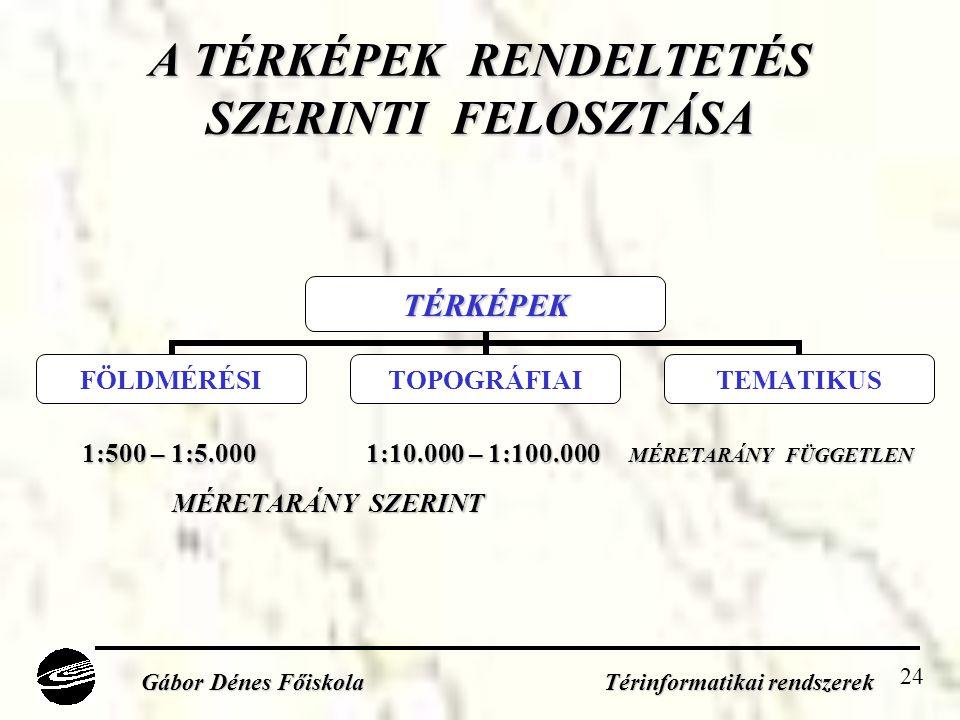 24 A TÉRKÉPEK RENDELTETÉS SZERINTI FELOSZTÁSA Gábor Dénes Főiskola Térinformatikai rendszerek 1:500 – 1:5.000 1:10.000 – 1:100.000 MÉRETARÁNY FÜGGETLEN MÉRETARÁNY SZERINT