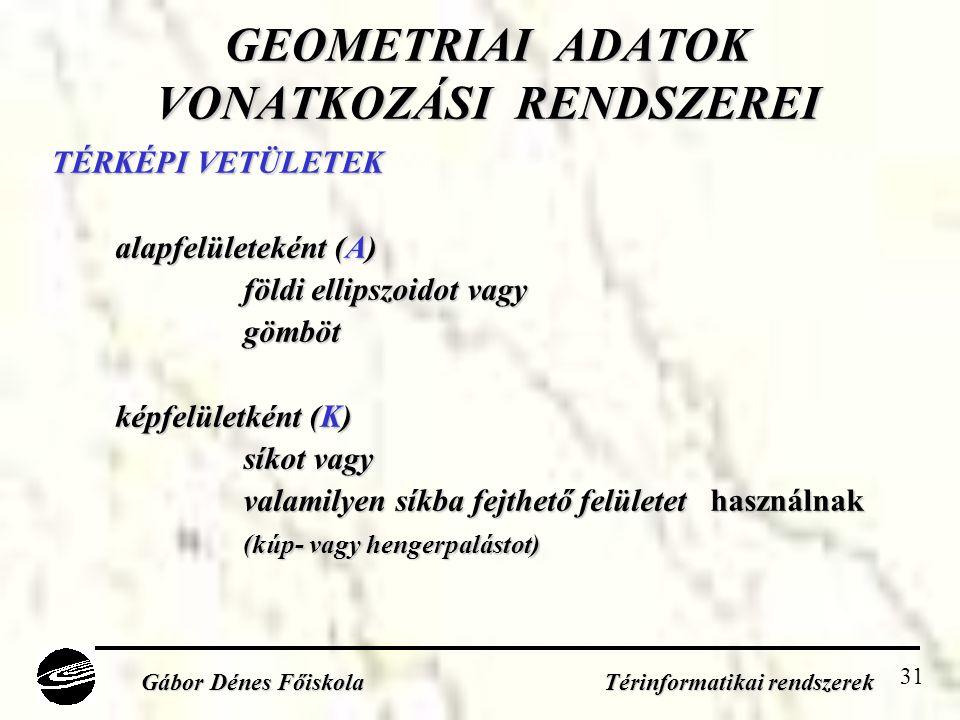 31 GEOMETRIAI ADATOK VONATKOZÁSI RENDSZEREI TÉRKÉPI VETÜLETEK alapfelületeként (A) földi ellipszoidot vagy gömböt képfelületként (K) síkot vagy valamilyen síkba fejthető felületet használnak (kúp- vagy hengerpalástot) Gábor Dénes Főiskola Térinformatikai rendszerek
