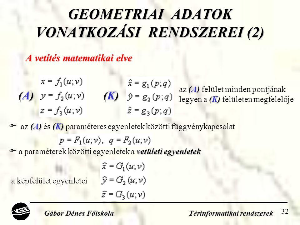 32 GEOMETRIAI ADATOK VONATKOZÁSI RENDSZEREI (2) A vetítés matematikai elve Gábor Dénes Főiskola Térinformatikai rendszerek (A)(A)(A)(A) (K)(K)(K)(K) (A)(K)  az (A) és (K) paraméteres egyenletek közötti függvénykapcsolat (A) az (A) felület minden pontjának (K) legyen a (K) felületen megfelelője a képfelület egyenletei vetületi egyenletek  a paraméterek közötti egyenletek a vetületi egyenletek