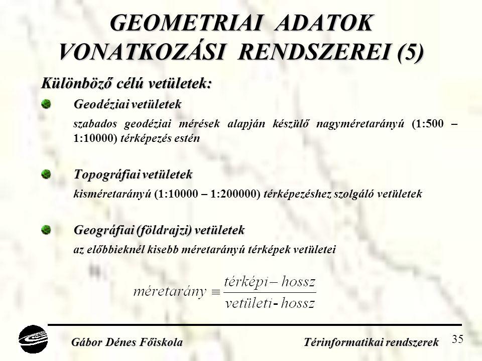 35 GEOMETRIAI ADATOK VONATKOZÁSI RENDSZEREI (5) Különböző célú vetületek: Geodéziai vetületek szabados geodéziai mérések alapján készülő nagyméretarányú (1:500 – 1:10000) térképezés estén Topográfiai vetületek kisméretarányú (1:10000 – 1:200000) térképezéshez szolgáló vetületek Geográfiai (földrajzi) vetületek az előbbieknél kisebb méretarányú térképek vetületei Gábor Dénes Főiskola Térinformatikai rendszerek