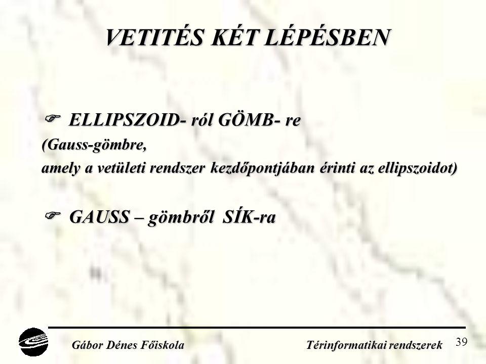 39 VETITÉS KÉT LÉPÉSBEN  ELLIPSZOID- ról GÖMB- re (Gauss-gömbre, amely a vetületi rendszer kezdőpontjában érinti az ellipszoidot)  GAUSS – gömbről SÍK-ra Gábor Dénes Főiskola Térinformatikai rendszerek