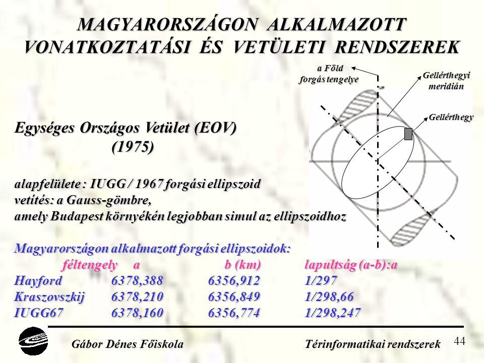44 MAGYARORSZÁGON ALKALMAZOTT VONATKOZTATÁSI ÉS VETÜLETI RENDSZEREK Gábor Dénes Főiskola Térinformatikai rendszerek a Föld forgás tengelye Gellérthegy Gellérthegyimeridián Egységes Országos Vetület (EOV) (1975) alapfelülete : IUGG / 1967 forgási ellipszoid vetítés: a Gauss-gömbre, amely Budapest környékén legjobban simul az ellipszoidhoz Magyarországon alkalmazott forgási ellipszoidok: féltengely a b (km)lapultság (a-b):a Hayford6378,3886356,9121/297 Kraszovszkij6378,2106356,8491/298,66 IUGG676378,1606356,7741/298,247