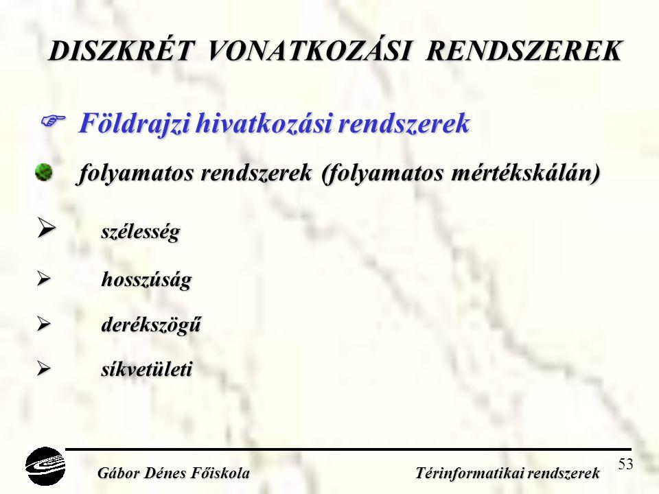 53 DISZKRÉT VONATKOZÁSI RENDSZEREK  Földrajzi hivatkozási rendszerek folyamatos rendszerek (folyamatos mértékskálán)  szélesség  hosszúság  derékszögű  síkvetületi Gábor Dénes Főiskola Térinformatikai rendszerek