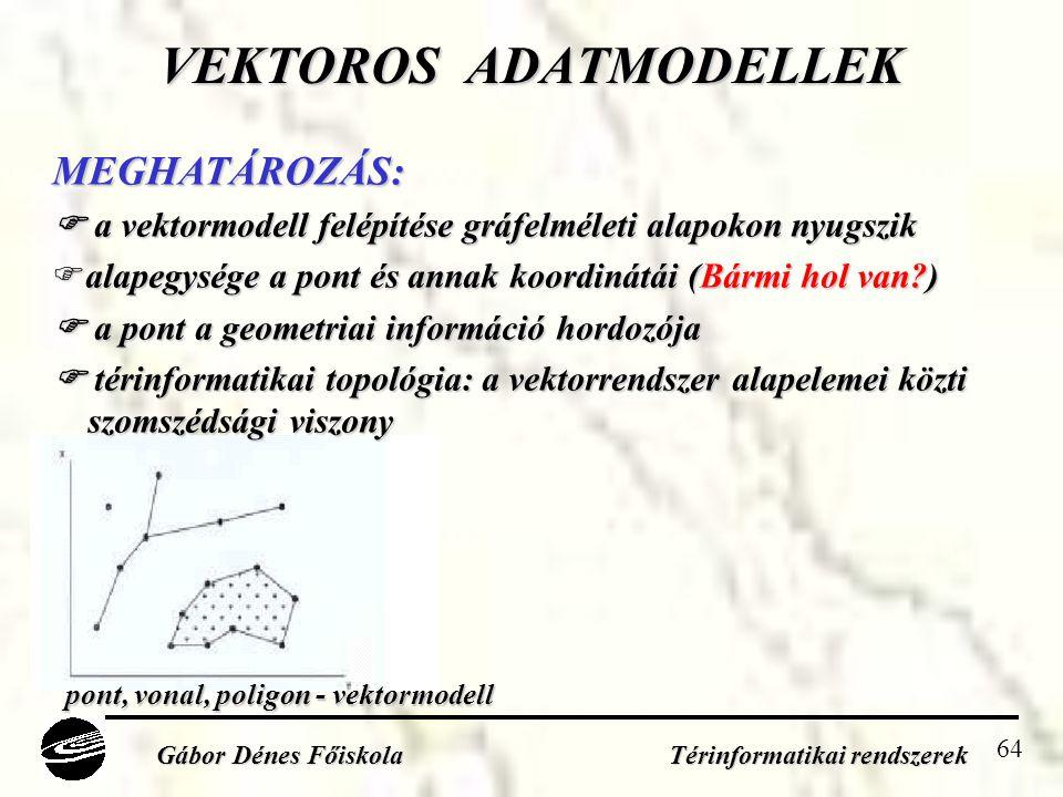64 VEKTOROS ADATMODELLEK Gábor Dénes Főiskola Térinformatikai rendszerek MEGHATÁROZÁS:  a vektormodell felépítése gráfelméleti alapokon nyugszik  alapegysége a pont és annak koordinátái (Bármi hol van?)  a pont a geometriai információ hordozója  térinformatikai topológia: a vektorrendszer alapelemei közti szomszédsági viszony szomszédsági viszony pont, vonal, poligon - vektormodell