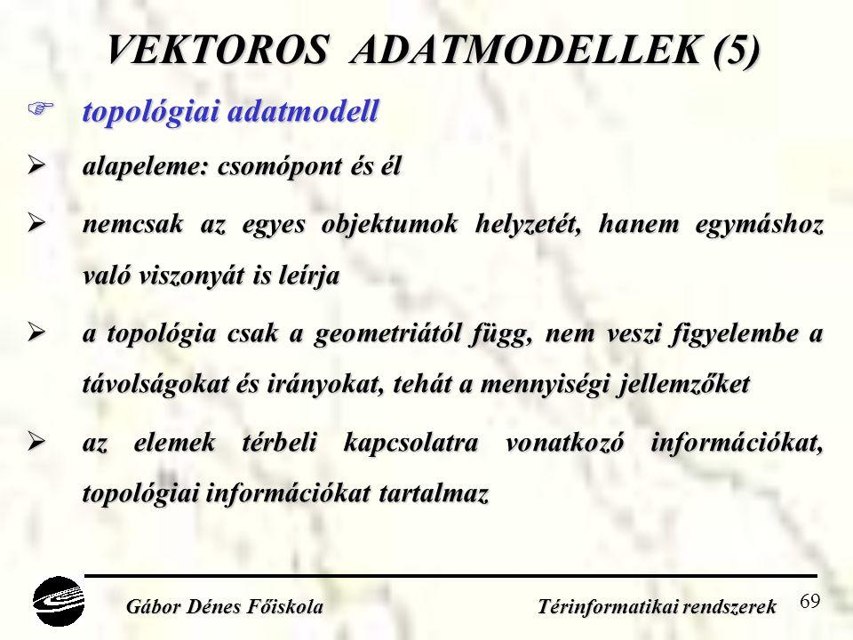 69 VEKTOROS ADATMODELLEK (5)  topológiai adatmodell  alapeleme: csomópont és él  nemcsak az egyes objektumok helyzetét, hanem egymáshoz való viszonyát is leírja  a topológia csak a geometriától függ, nem veszi figyelembe a távolságokat és irányokat, tehát a mennyiségi jellemzőket  az elemek térbeli kapcsolatra vonatkozó információkat, topológiai információkat tartalmaz Gábor Dénes Főiskola Térinformatikai rendszerek