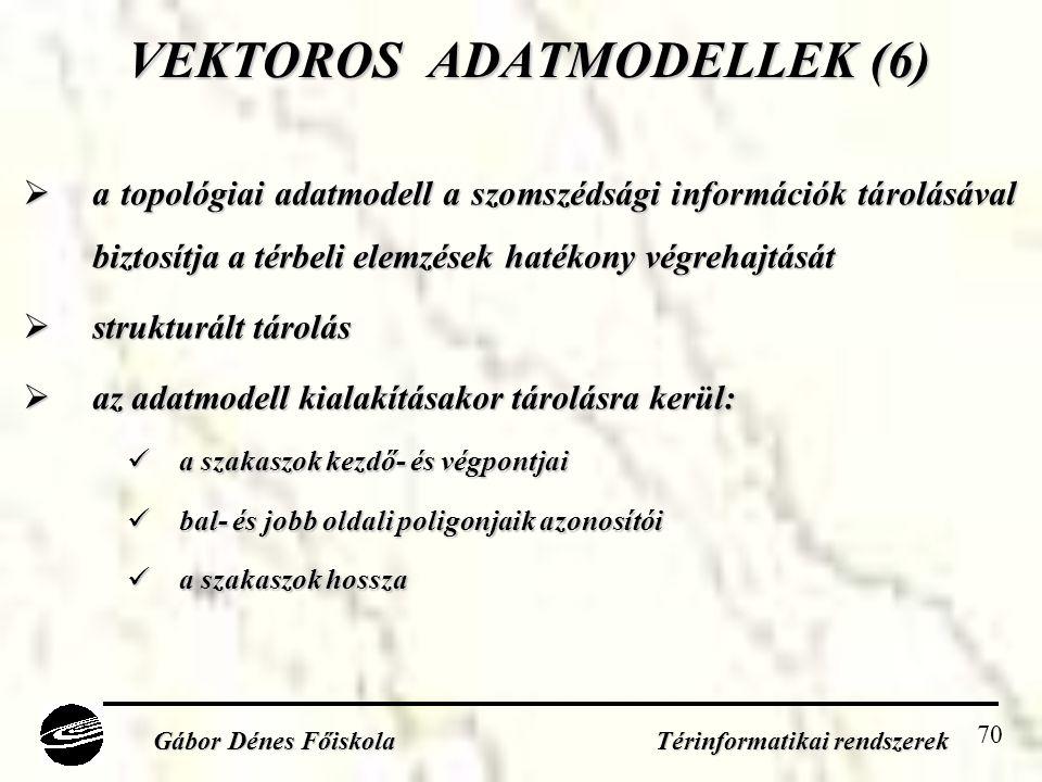 70 VEKTOROS ADATMODELLEK (6)  a topológiai adatmodell a szomszédsági információk tárolásával biztosítja a térbeli elemzések hatékony végrehajtását  strukturált tárolás  az adatmodell kialakításakor tárolásra kerül:  a szakaszok kezdő- és végpontjai  bal- és jobb oldali poligonjaik azonosítói  a szakaszok hossza Gábor Dénes Főiskola Térinformatikai rendszerek