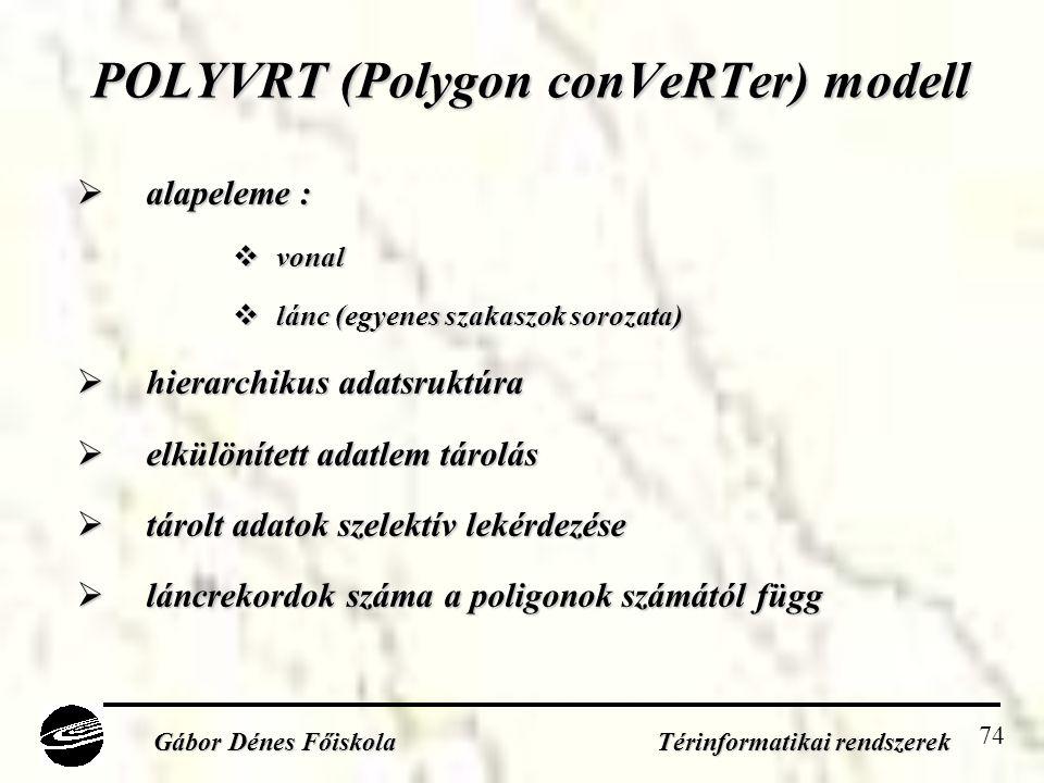 74 POLYVRT (Polygon conVeRTer) modell  alapeleme :  vonal  lánc (egyenes szakaszok sorozata)  hierarchikus adatsruktúra  elkülönített adatlem tárolás  tárolt adatok szelektív lekérdezése  láncrekordok száma a poligonok számától függ Gábor Dénes Főiskola Térinformatikai rendszerek