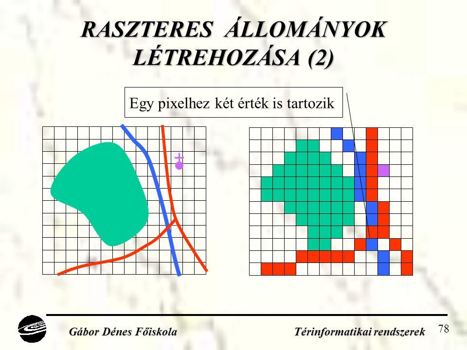 78 RASZTERES ÁLLOMÁNYOK LÉTREHOZÁSA (2) Gábor Dénes Főiskola Térinformatikai rendszerek Egy pixelhez két érték is tartozik