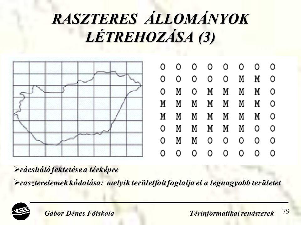 79 RASZTERES ÁLLOMÁNYOK LÉTREHOZÁSA (3) Gábor Dénes Főiskola Térinformatikai rendszerek  rácsháló fektetése a térképre  raszterelemek kódolása: melyik területfolt foglalja el a legnagyobb területet