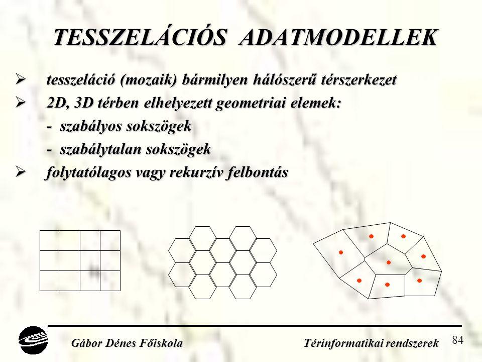 84 TESSZELÁCIÓS ADATMODELLEK  tesszeláció (mozaik) bármilyen hálószerű térszerkezet  2D, 3D térben elhelyezett geometriai elemek: - szabályos sokszögek - szabályos sokszögek - szabálytalan sokszögek - szabálytalan sokszögek  folytatólagos vagy rekurzív felbontás Gábor Dénes Főiskola Térinformatikai rendszerek