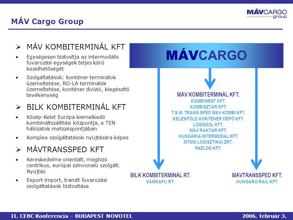 MÁV Cargo Group  MÁV KOMBITERMINÁL KFT •Egységesen biztosítja az intermodális fuvarozási egységek teljes körű kezelhetőségét •Szolgáltatások: konténer terminálok üzemeltetése, RO-LA terminálok üzemeltetése, konténer divízió, kiegészítő tevékenység  BILK KOMBITERMINÁL KFT •Közép-Kelet Európa kiemelkedő kombináltszállítási központja, a TEN hálózatok metszéspontjában •Komplex szolgáltatások nyújtására képes  MÁVTRANSSPED KFT •Kereskedelme orientált, megbízó centrikus, európai színvonalú szolgált.