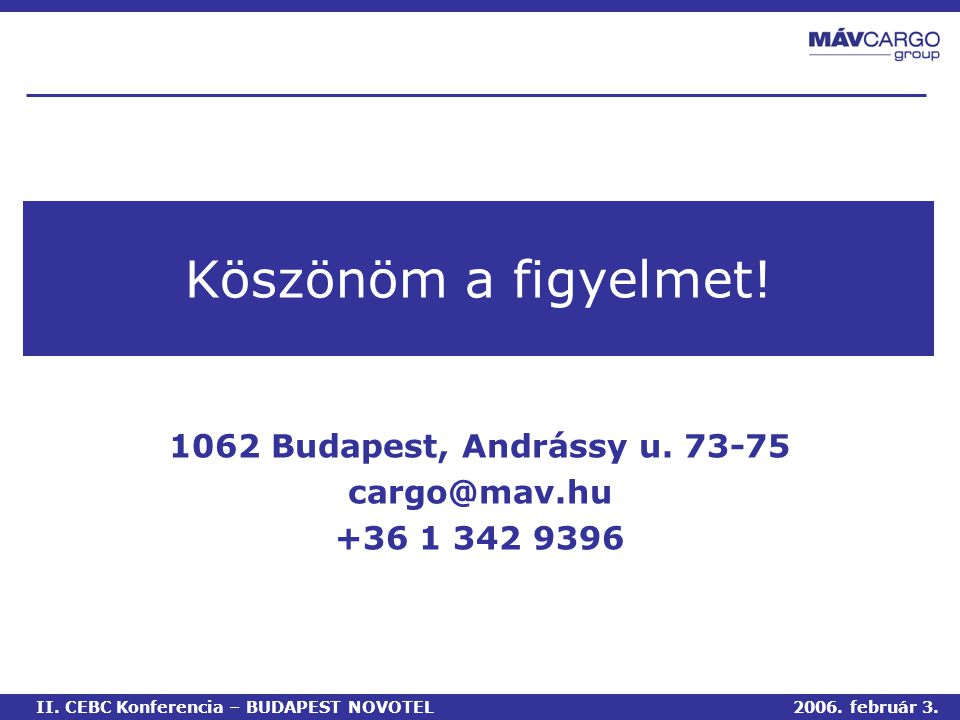 Köszönöm a figyelmet.1062 Budapest, Andrássy u. 73-75 cargo@mav.hu +36 1 342 9396 II.