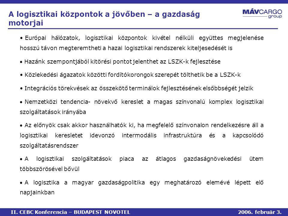 • Európai hálózatok, logisztikai központok kivétel nélküli együttes megjelenése hosszú távon megteremtheti a hazai logisztikai rendszerek kiteljesedését is  Hazánk szempontjából kitörési pontot jelenthet az LSZK-k fejlesztése • Közlekedési ágazatok közötti fordítókorongok szerepét tölthetik be a LSZK-k • Integrációs törekvések az összekötő terminálok fejlesztésének elsőbbségét jelzik  Nemzetközi tendencia- növekvő kereslet a magas színvonalú komplex logisztikai szolgáltatások irányába  Az előnyök csak akkor használhatók ki, ha megfelelő színvonalon rendelkezésre áll a logisztikai keresletet idevonzó intermodális infrastruktúra és a kapcsolódó szolgáltatásrendszer  A logisztikai szolgáltatások piaca az átlagos gazdaságnövekedési ütem többszörösével bővül  A logisztika a magyar gazdaságpolitika egy meghatározó elemévé lépett elő napjainkban A logisztikai központok a jövőben – a gazdaság motorjai II.