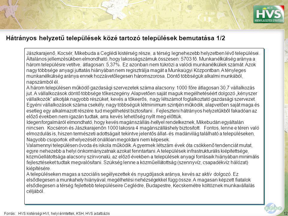 12 Jászkarajenő, Kocsér, Mikebuda a Ceglédi kistérség része, a térség legnehezebb helyzetben lévő települései. Általános jellemzésükben elmondható, ho