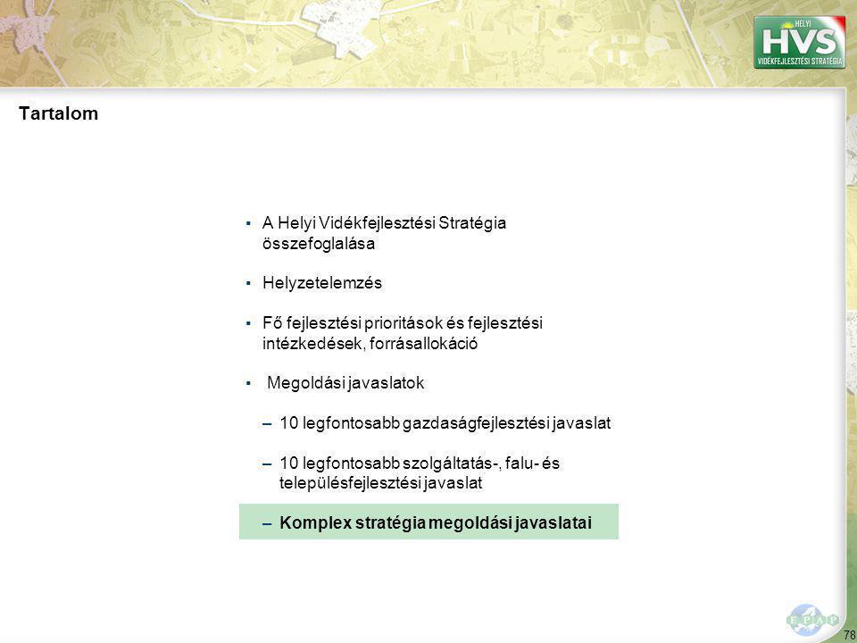 78 Tartalom ▪A Helyi Vidékfejlesztési Stratégia összefoglalása ▪Helyzetelemzés ▪Fő fejlesztési prioritások és fejlesztési intézkedések, forrásallokáció ▪ Megoldási javaslatok –10 legfontosabb gazdaságfejlesztési javaslat –10 legfontosabb szolgáltatás-, falu- és településfejlesztési javaslat –Komplex stratégia megoldási javaslatai
