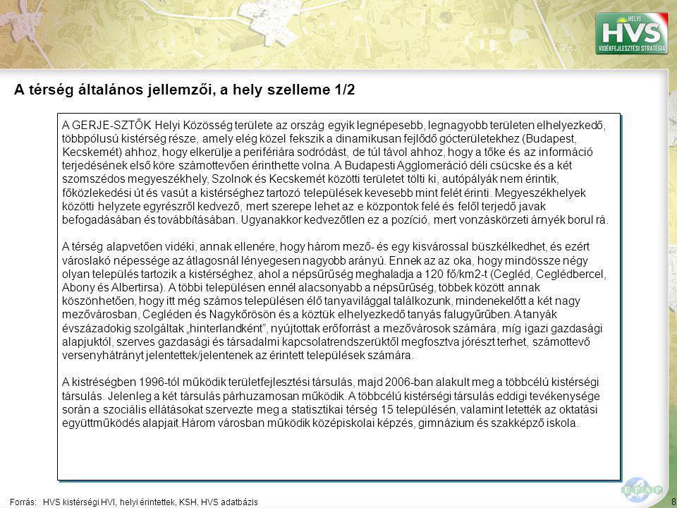 8 A GERJE-SZTŐK Helyi Közösség területe az ország egyik legnépesebb, legnagyobb területen elhelyezkedő, többpólusú kistérség része, amely elég közel fekszik a dinamikusan fejlődő gócterületekhez (Budapest, Kecskemét) ahhoz, hogy elkerülje a perifériára sodródást, de túl távol ahhoz, hogy a tőke és az információ terjedésének első köre számottevően érinthette volna.
