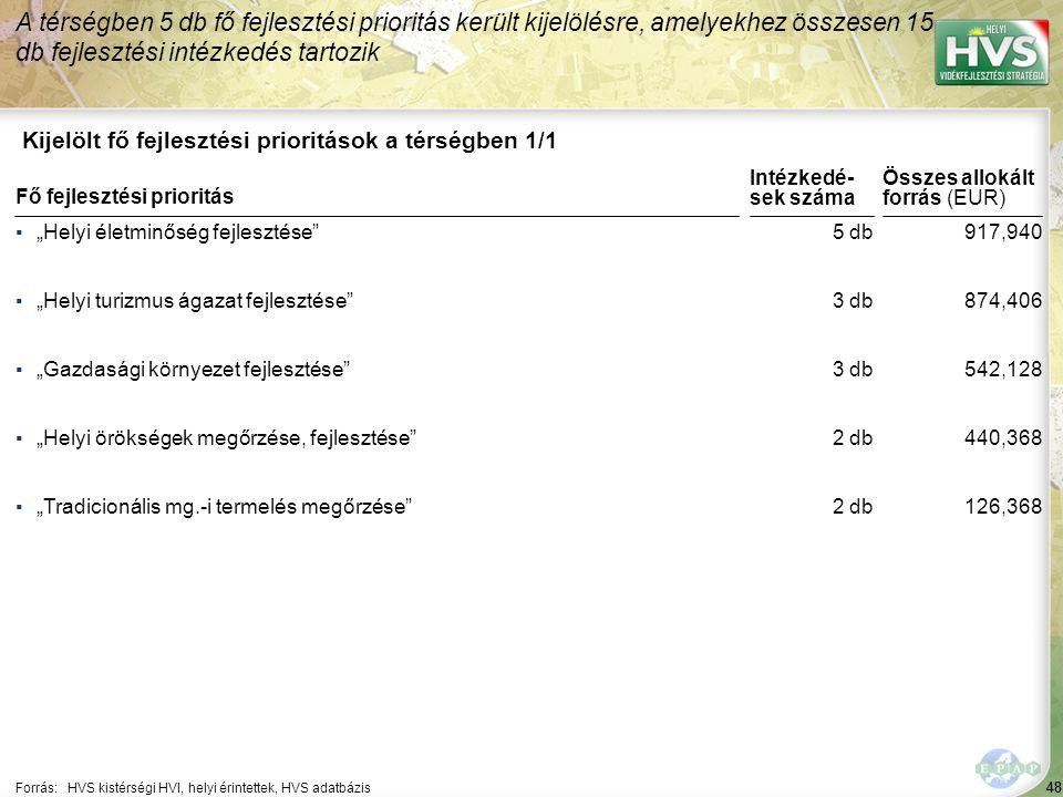 48 Kijelölt fő fejlesztési prioritások a térségben 1/1 A térségben 5 db fő fejlesztési prioritás került kijelölésre, amelyekhez összesen 15 db fejlesz