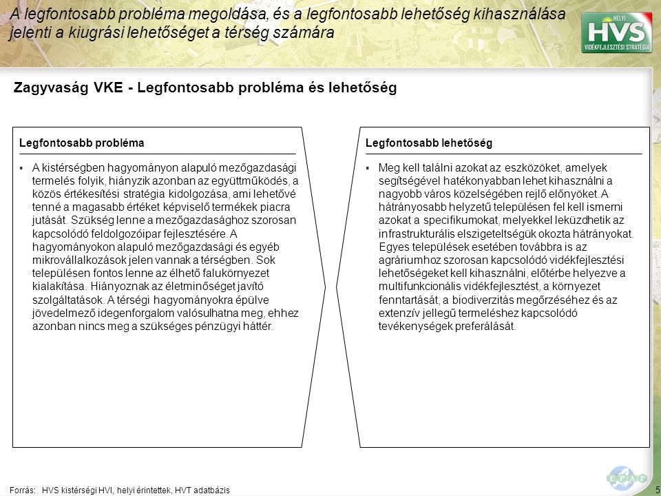 5 Zagyvaság VKE - Legfontosabb probléma és lehetőség A legfontosabb probléma megoldása, és a legfontosabb lehetőség kihasználása jelenti a kiugrási le